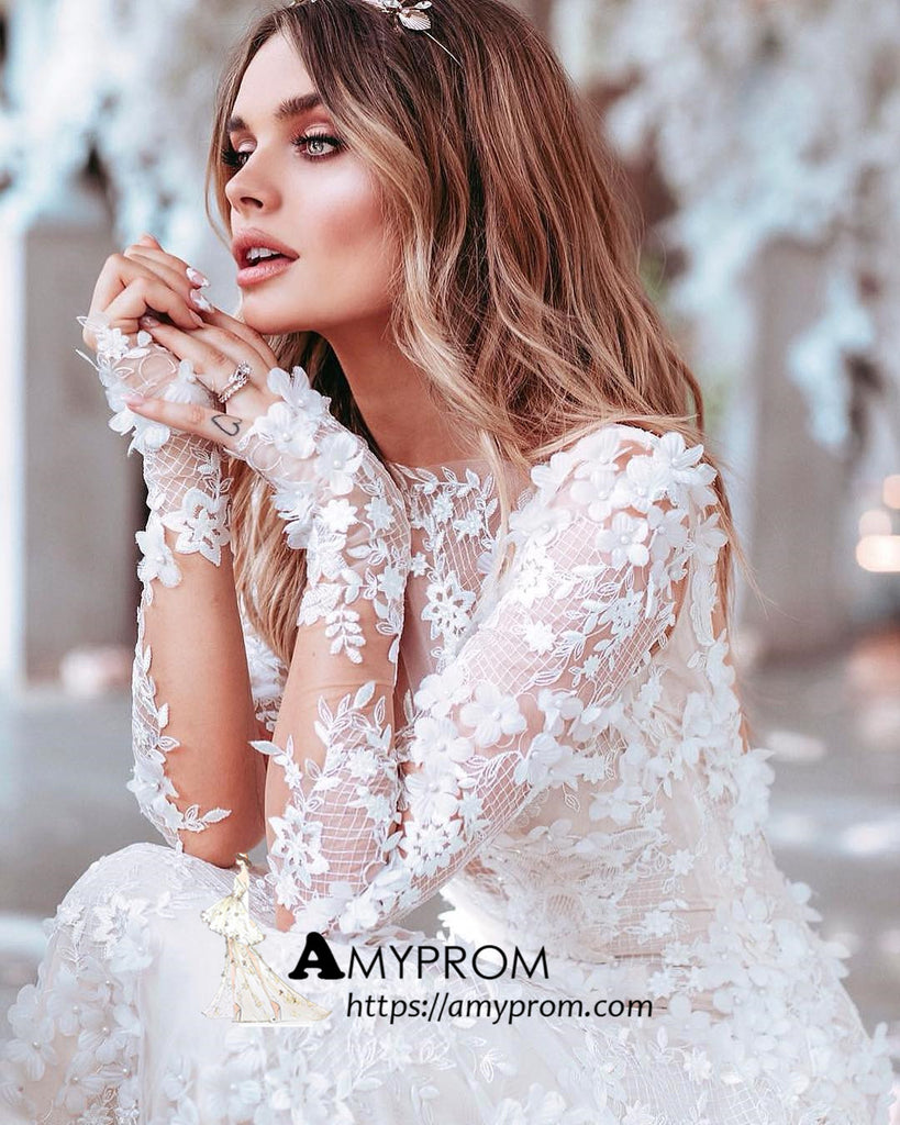 White Long Sleeve Lace Wedding Dresses Backless Romantic Wedding Gowns Bridal Gowns Amy2868 Amyprom