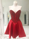 Red Beaded Homecoming Dress Cute Short Prom Dress Sweetheart Formal Dress AMY2868