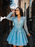 Chic Elegant Short Prom Dress V neck Long Sleeve Cute Homecoming Dress With Applique AMY2870