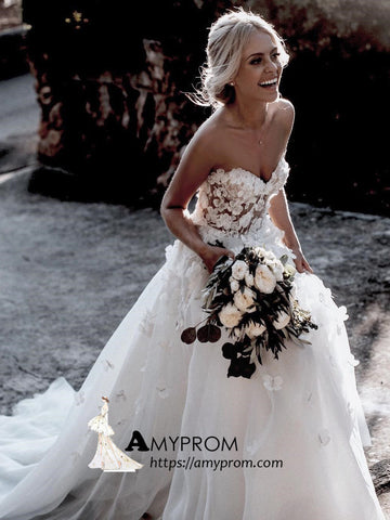 Romantic Wedding Dresses A-line Sweetheart 3D Floral Vintage Wedding Dress Bridal Gowns AMY2870