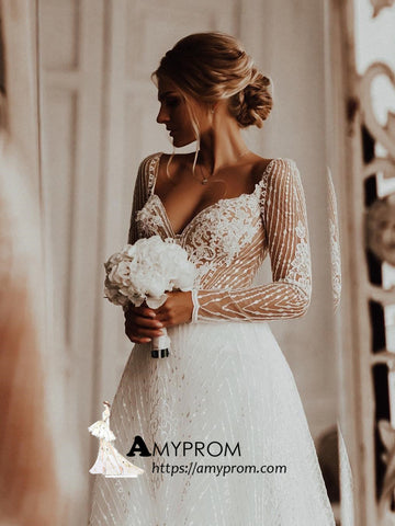 Romantic Wedding Dresses A-line Lace Wedding Dress With Long Sleeve Bridal Gowns AMY2871