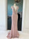 Blush Pink Sparkly Long Prom Dresses Short Sleeve V neck Beaded Custom Evening Dress Formal Gowns AMY2871
