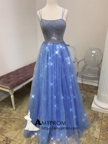 Blue Spaghetti Straps Long Prom Dress Sparkly Long Prom Dress Gorgeous Evening Gowns AMY2873