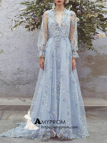 A-line V neck Prom Dresses Light Sky Blue Evening Dress Lace Elegant Formal Gowns AMY2875