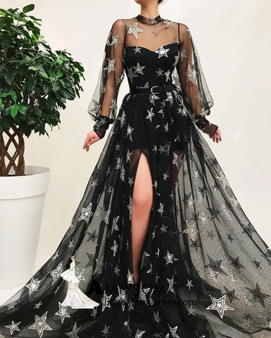 Black High Neck Long Prom Dress With Star Sparkly Long Sleeve Unique Prom Dress Gorgeous Evening Gowns AMY2877