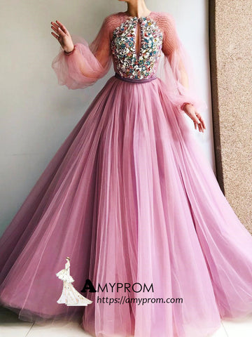 A-line Scoop Prom Dresses Pink Beaded Evening Dress Long Sleeve Beautiful Elegant Formal Gowns AMY2878