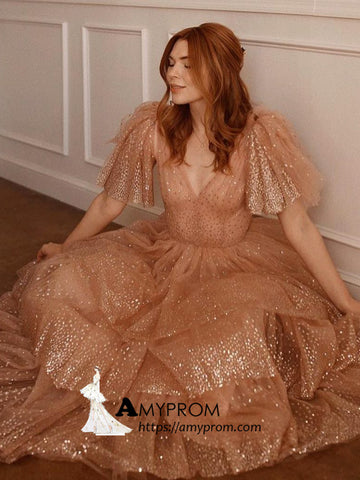 A-line V neck Prom Dresses Brown Sparkly Evening Dress Unique Elegant Formal Gowns AMY2879