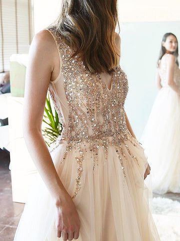 Sparkly Long Prom Dresses Beaded V neck Charming Long Evening Dress Formal Gowns AMY2879