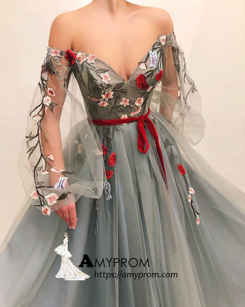 0580ae5a4c899 Chic Off-the-shoulder Boho Long Prom Dress With Applique Prom Dress  Gorgeous Evening
