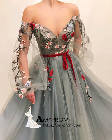 Chic Off-the-shoulder Boho Long Prom Dress With Applique Prom Dress Gorgeous Evening Gowns AMY2880