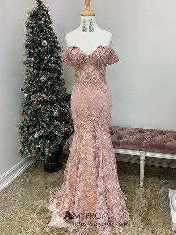 Chic Pink Prom Dresses With Lace Off-the-shoulder Elegant Evening Gowns Modest Formal Dress AMY2880