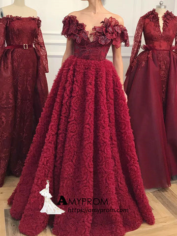Off-the-shoulder Burgundy Long Prom Dress With Lace Prom Dress Beautiful Evening Gowns AMY2883