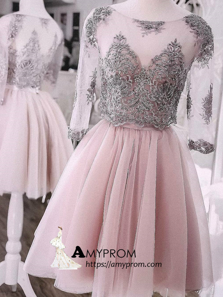 68640b3b17e9 Two Pieces Short Prom Dress Dusty Pink Half Sleeve Cute Lace Homecomin –  AmyProm