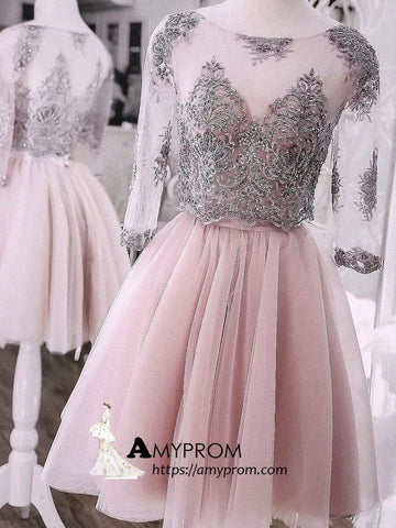 Two Pieces Short Prom Dress Dusty Pink Half Sleeve Cute Lace Homecoming Dress Cocktail Dresses AMY2885