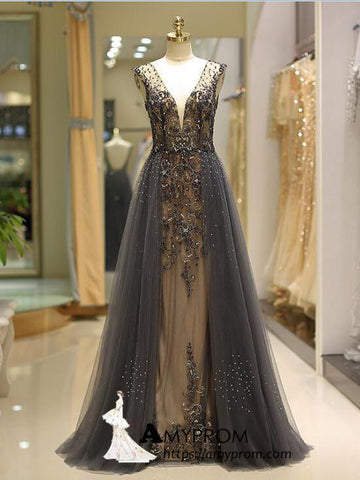 Chic A-line Silver V neck Long Prom Dress Open Back Beaded Evening Dress Elegant Formal Gowns AMY2885
