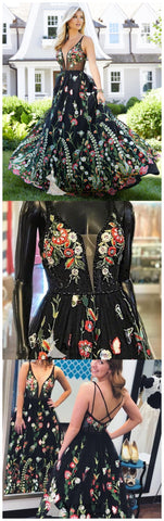 Beautiful Flower Black Prom Dresses Straps Long Evening Gowns Elegant Formal Dress AMY2886