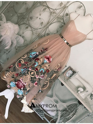 Spaghetti Straps Tea Length Short Prom Dress Dusty Pink Cute Homecoming Dress Cocktail Dresses AMY2886