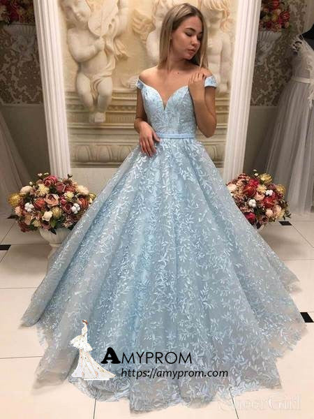 Light Sky Blue Lace Long Prom Dress Ball Gowns Prom Dress Off-the-shoulder Evening Gowns AMY2887