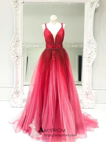 Beautiful Ombre Red Tulle Prom Dresses Straps Long Evening Gowns Colorful Elegant Formal Dress AMY2887
