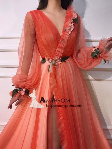 V neck Long Sleeve Prom Dresses Orange Unique Long Evening Dress Floral Elegant Formal Gowns AMY2889