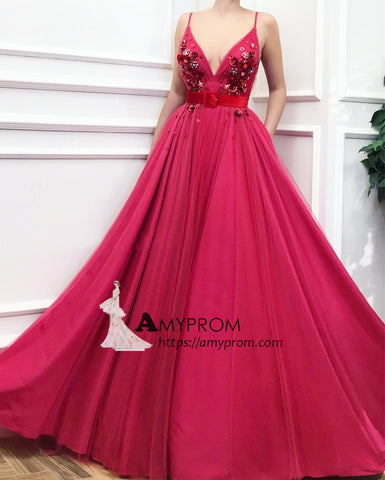 Spaghetti Straps Fuchsia Prom Dresses Unique Long Evening Dress Beaded Elegant Formal Gowns AMY2891