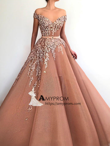Off-the-shoulder Beaded Prom Dresses Unique Long Evening Dress Sparkly Elegant Formal Gowns AMY2892