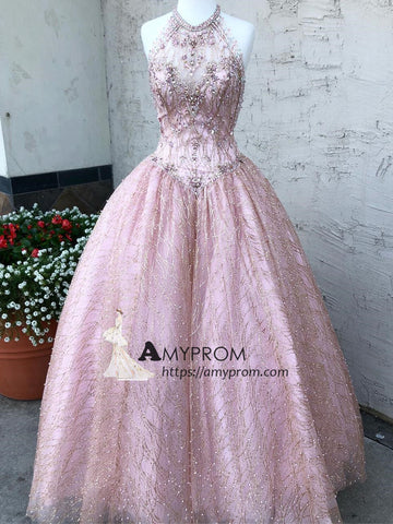 Pink Ball Gowns Beaded Prom Dresses Quinceanera Dress Long Evening Gowns Sparkly Elegant Formal Dresses AMY2894