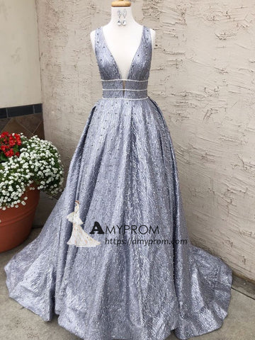 Chic A-line Sparkly Prom Dress Silver Tulle V-Neck Rhinestone Evening Dress Party Dress Elegant Formal Gowns AMY2896