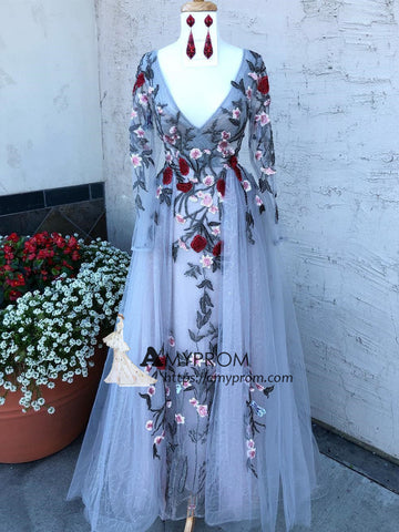 Chic V neck Prom Dress Long Sleeve Beaded Evening Dress With Applique Party Dress Elegant Formal Gowns AMY2897