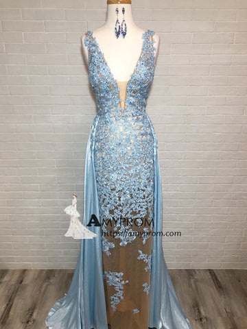 Sheath/Column V neck Prom Dress With Lace Light Sky Blue Evening Gowns Elegant Formal Dress AMY2898
