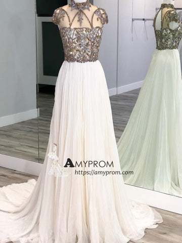 Chic High Neck Sparkly Prom Dress With Beaded Short Sleeve Ivory Evening Gowns Elegant Formal Dress AMY2899