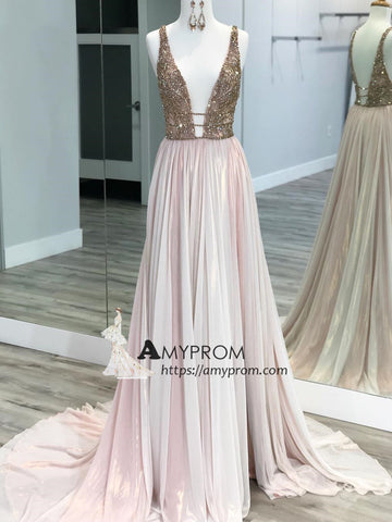 Chic Pink Sparkly Prom Dress Deep V neck Rhinestone Evening Dress With Beaded Elegant Formal Gowns AMY2900