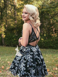 Chic Black Floral Lace Short Prom Dress Junior Straps Gorgeous Homecoming Dress AMY2902