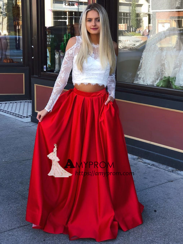 Two Pieces Scoop Lace Prom Dress Long Sleeve White and Red Long Evening Gonws Elegant Formal Dress AMY2903