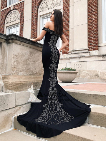 Trumpet/Mermaid Black Off-the-shoulder Prom Dress Long Evening Dress Beaded Elegant Formal Gowns AMY2905