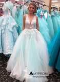 A-line V neck Lilac Prom Dress With Applique Beautiful Long Evening Dress Elegant Formal Gowns AMY2906