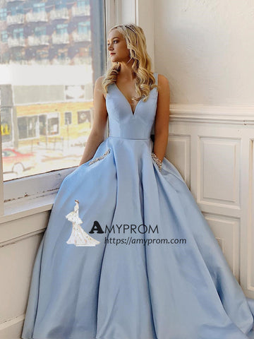 Chic Light Sky Blue V neck Long Prom Dress With Pocket Beaded Evening Dress Elegant Formal Gowns AMY2908