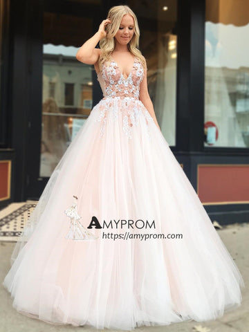 Chic V neck Prom Dress Pink Tulle Long Evening Gowns With Lace Party Dress Elegant Formal Dress AMY2909