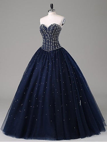 f6be0ed7 2018 Ball Gowns Prom Dresses Long Cheap Sweetheart Dark Navy Prom Dress Evening  Dresses AMY290