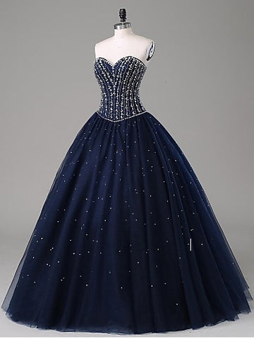 2018 Ball Gowns Prom Dresses Long Cheap Sweetheart Dark Navy Prom Dress Evening Dresses AMY290