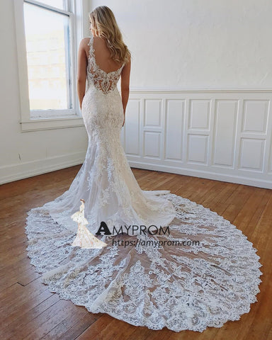 Chic Rustic Lace Wedding Dress Vintage V neck Unique Wedding Gowns Elegant Formal Dress AMY2912