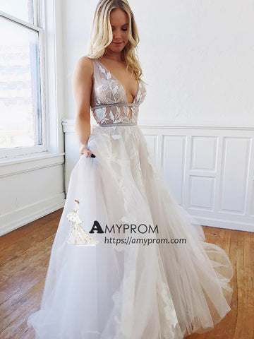 Elegant White V neck Prom Dress Tulle Long Evening Dress With Lace Party Dress Elegant Formal Gowns AMY2913