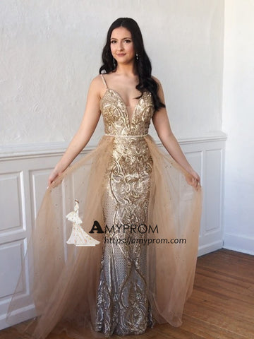 Chic Spaghetti Straps Prom Dress Gold Long Evening Gowns Sparkly Party Dress Elegant Formal Dress AMY2914