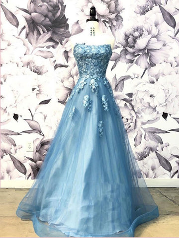 A-line Strapless Blue Long Prom Dress With Applique Unique Prom Dress Long Evening Dress AMY2916