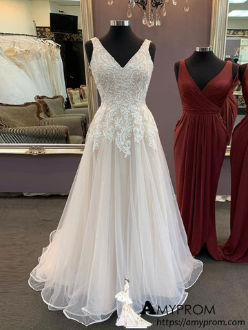 Ivory Lace Long Prom Dress V neck Beaded Modest Prom Dress Evening Dress Formal Gowns AMY2917