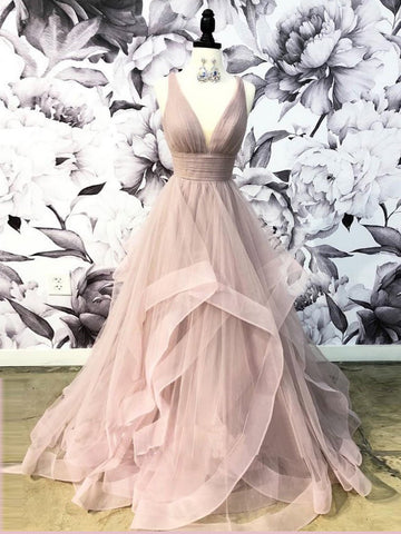 Open Back Dusty Pink Long Prom Dress Simple Ball Gowns Unique Prom Dress Long Evening Gowns AMY2919