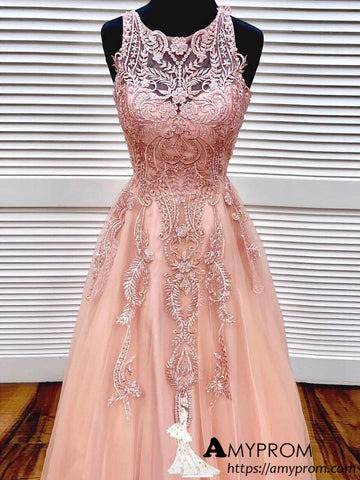 Pearl Pink Scoop Long Prom Dress Lace Elegant Prom Dress Long Evening Gowns AMY2922