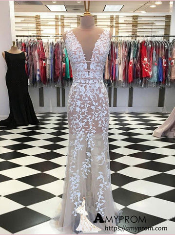 Chic Sheath/Column Scoop Long Prom Dress Applique Beautiful Prom Dress Gorgeous Evening Formal Gowns AMY2923