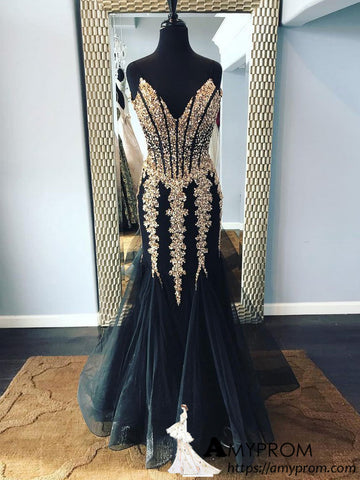 Black Mermaid Sparkly Long Prom Dress Strapless Elegant Beaded Prom Dress Long Evening Gowns AMY2925