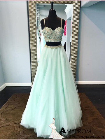 Two Pieces Spaghetti Straps Long Prom Dress Mint Green Beaded Prom Dress Modest Evening Dress Formal Gowns AMY2926